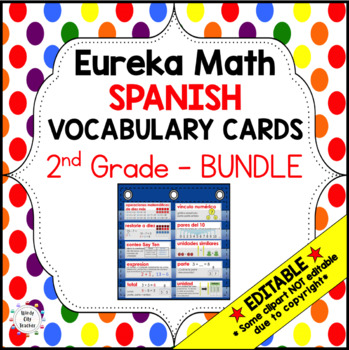 Eureka Math/Engage NY - Spanish Vocabulary 2nd Grade BUNDLE Module 1-6: RED Font