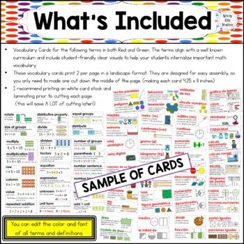 Eureka Math/Engage NY - Spanish Vocab 3rd Grade BUNDLE Module 1-7: Green Font