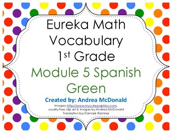 Eureka Math / Engage NY - SPANISH Vocabulary 1st Grade Module 5 - GREEN Font