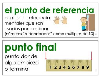 Eureka Math / Engage NY - SPANISH Vocabulary 2nd Grade Module 2 - GREEN Font