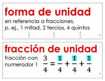 Eureka Math / Engage NY - SPANISH Vocabulary 3rd Grade Module 5 - RED Font