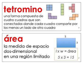 Eureka Math / Engage NY - SPANISH Vocabulary 3rd Grade Module 7 - RED Font