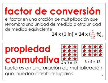 Eureka Math / Engage NY - SPANISH Vocabulary 5th Grade Module 4 - RED Font