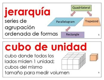 Eureka Math / Engage NY - SPANISH Vocabulary 5th Grade Module 5 - RED Font