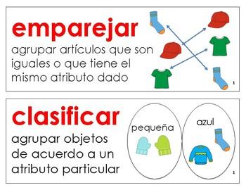 Eureka Math / Engage NY - SPANISH Vocabulary Kindergarten Module 1 - RED Font