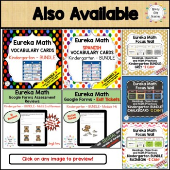 Eureka Math / Engage NY - SPANISH Vocabulary Kindergarten Module 5 - Green Font