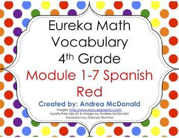 Eureka Math/Engage NY - Spanish Vocab 4th Grade BUNDLE Module 1-7: RED Font