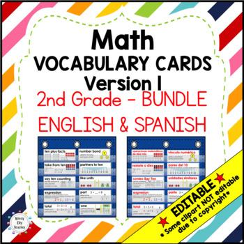 Eureka Math/Engage NY - Vocab Bundle 2nd Grade / English Black & Spanish Red