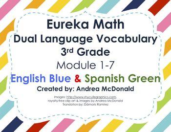 Eureka Math/Engage NY - Vocab Bundle 3rd Grade / English Blue & Spanish Green