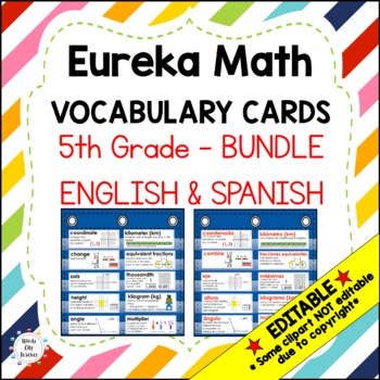 Eureka Math/Engage NY - Vocab Bundle 5th Grade / English Black & Spanish Red