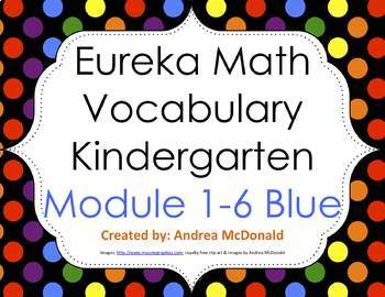 Eureka Math / Engage NY - Vocab Kindergarten Bundle Modules 1-6: Blue Font
