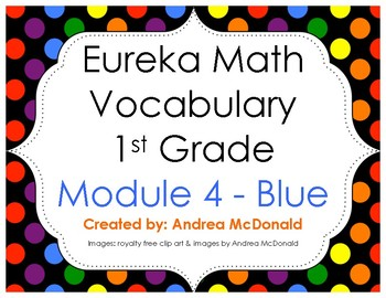 Eureka Math / Engage NY - Vocabulary 1st Grade Module 4 - Vocab Words in Blue
