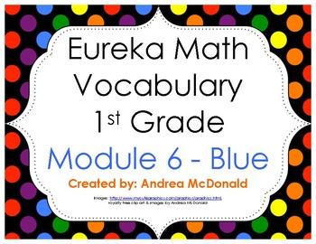 Eureka Math / Engage NY - Vocabulary 1st Grade Module 6 - Vocab Words in Blue