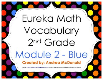 Eureka Math / Engage NY - Vocabulary 2nd Grade Module 2 - Vocab Words in Blue
