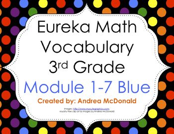 Eureka Math / Engage NY - Vocabulary 3rd Grade Bundle Modules 1-7: Blue Font