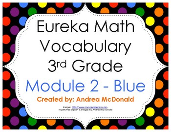 Eureka Math / Engage NY - Vocabulary 3rd Grade Module 2 - Vocab Words in Blue