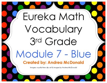Eureka Math / Engage NY - Vocabulary 3rd Grade Module 7 - Vocab Words in Blue