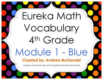 Eureka Math / Engage NY - Vocabulary 4th Grade Module 1 - Vocab Words in Blue