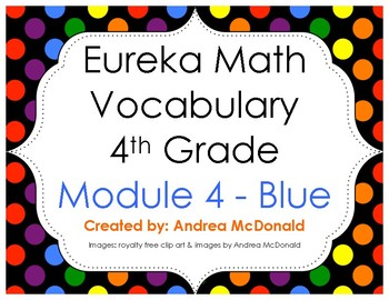 Eureka Math / Engage NY - Vocabulary 4th Grade Module 4 - Vocab Words in Blue