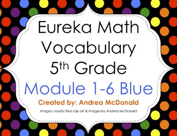 Eureka Math / Engage NY - Vocabulary 5th Grade Bundle Modules 1-6: Blue Font