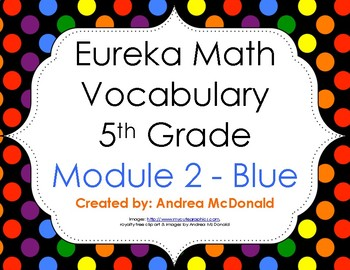Eureka Math / Engage NY - Vocabulary 5th Grade Module 2 - Vocab Words in Blue