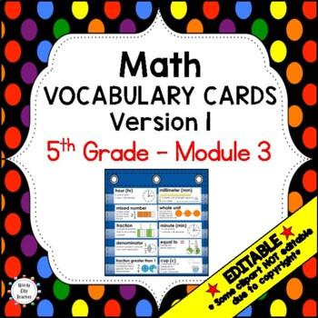 Eureka Math / Engage NY - Vocabulary 5th Grade Module 3 Common Core Aligned