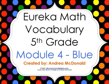 Eureka Math / Engage NY - Vocabulary 5th Grade Module 4 - Vocab Words in Blue