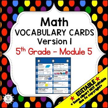 Eureka Math / Engage NY - Vocabulary 5th Grade Module 5 Co