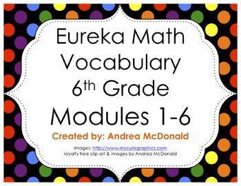 Eureka Math / Engage NY - Vocabulary 6th Grade Bundle Modules 1-6: Black Font