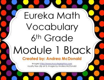 Eureka Math / Engage NY - Vocabulary 6th Grade Module 1 - Vocab Words in Black