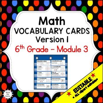 Eureka Math / Engage NY - Vocabulary 6th Grade Module 3 Common Core Aligned