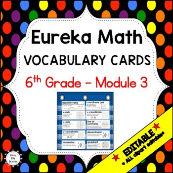 Eureka Math / Engage NY - Vocabulary 6th Grade Module 3 - Vocab Words in Blue