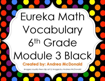 Eureka Math / Engage NY - Vocabulary 6th Grade Module 3 - Vocab Words in Black