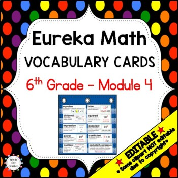 Eureka Math / Engage NY - Vocabulary 6th Grade Module 4 - Vocab Words in Blue