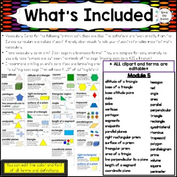 Eureka Math / Engage NY - Vocabulary 6th Grade Module 5 - Vocab Words in Blue