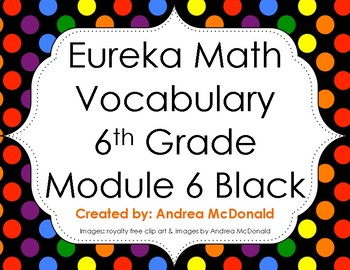 Eureka Math / Engage NY - Vocabulary 6th Grade Module 6 - Vocab Words in Black