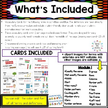 Eureka Math / Engage NY - Vocabulary Kindergarten Module 1 Common Core Aligned