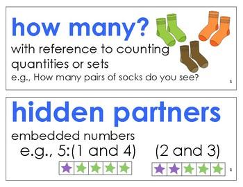 Eureka Math / Engage NY - Vocabulary Kindergarten Module 1 -Vocab Words in Blue