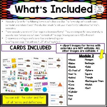 Eureka Math / Engage NY - Vocabulary Kindergarten Module 2 Common Core Aligned