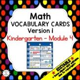 Eureka Math / Engage NY - Vocabulary Kindergarten Module 4 -Vocabulary Words