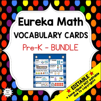 Eureka Math / Engage NY - Vocabulary  Pre-K Bundle Modules 1-5: Black Font