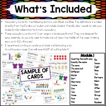 Eureka Math / Engage NY - Vocabulary Pre-K Grade Module 1 - Vocab Words in Black