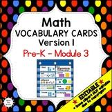 Eureka Math / Engage NY - Vocabulary Pre-K Grade Module 3 - Vocabulary Words