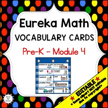 Eureka Math / Engage NY - Vocabulary Pre-K Grade Module 4 - Vocab Words in Black