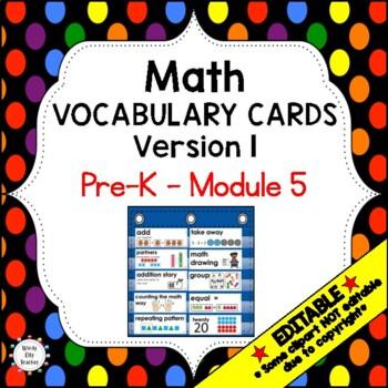 Eureka Math / Engage NY - Vocabulary Pre-K Grade Module 5 - Vocab Words in Black