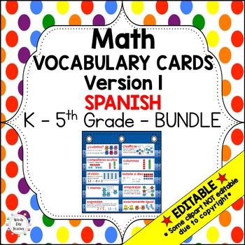 Eureka Math / Engage NY - Vocabulary Spanish K - 5th Grade Bundle