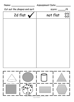 Eureka Math / Engage NY sorting 2d and 3d shapes ASSESSMENT NO PREP