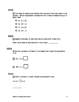 Eureka Math/Engage New York Grade 3:  Module 1 Pretest