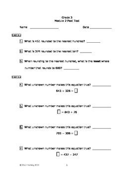 Eureka Math/Engage New York Grade 3:  Module 2 Posttest