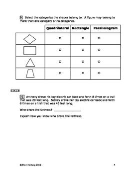 Eureka Math/Engage New York Grade 3:  Module 7 Posttest
